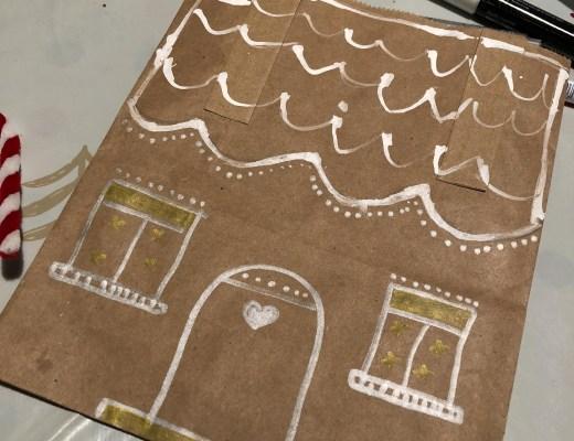 Brown paper bag gingerbread house