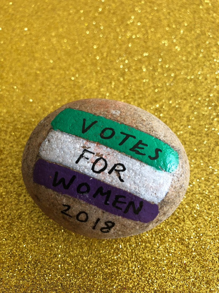 Votes for Women 100th anniversary painted rock