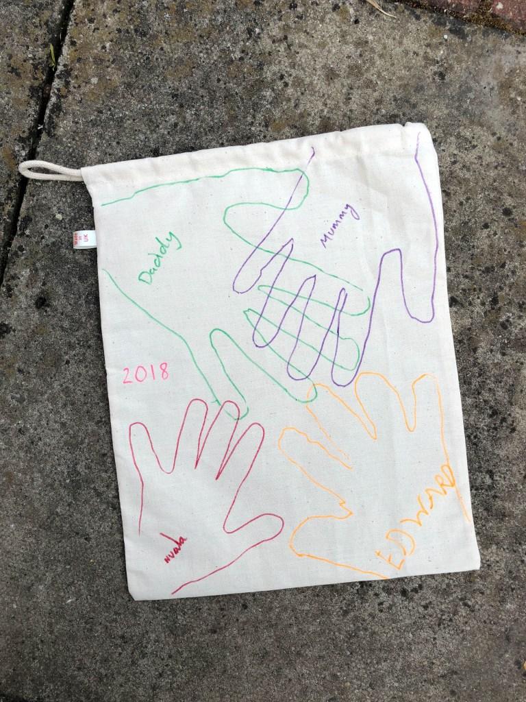 handprint keepsake bag