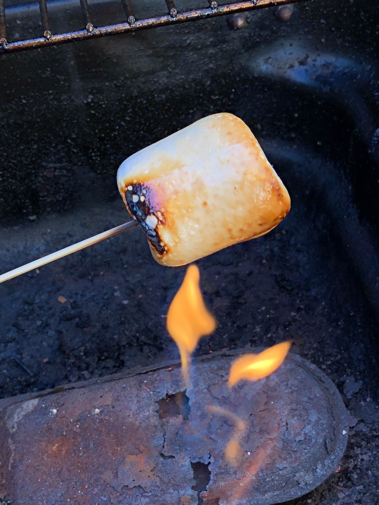 melting marshmallows on the barbecue