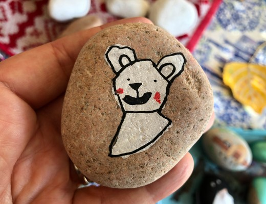 polar bear painted rock