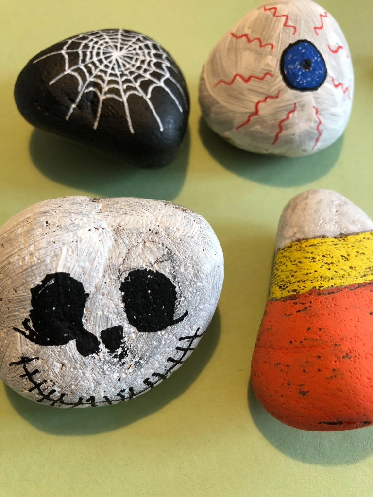 Halloween themed painted rocks for kids
