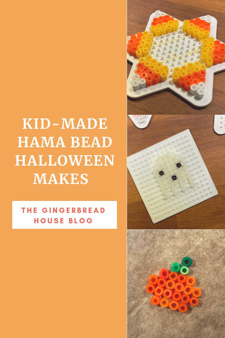 Kid-made Hama bead crafts for Halloween