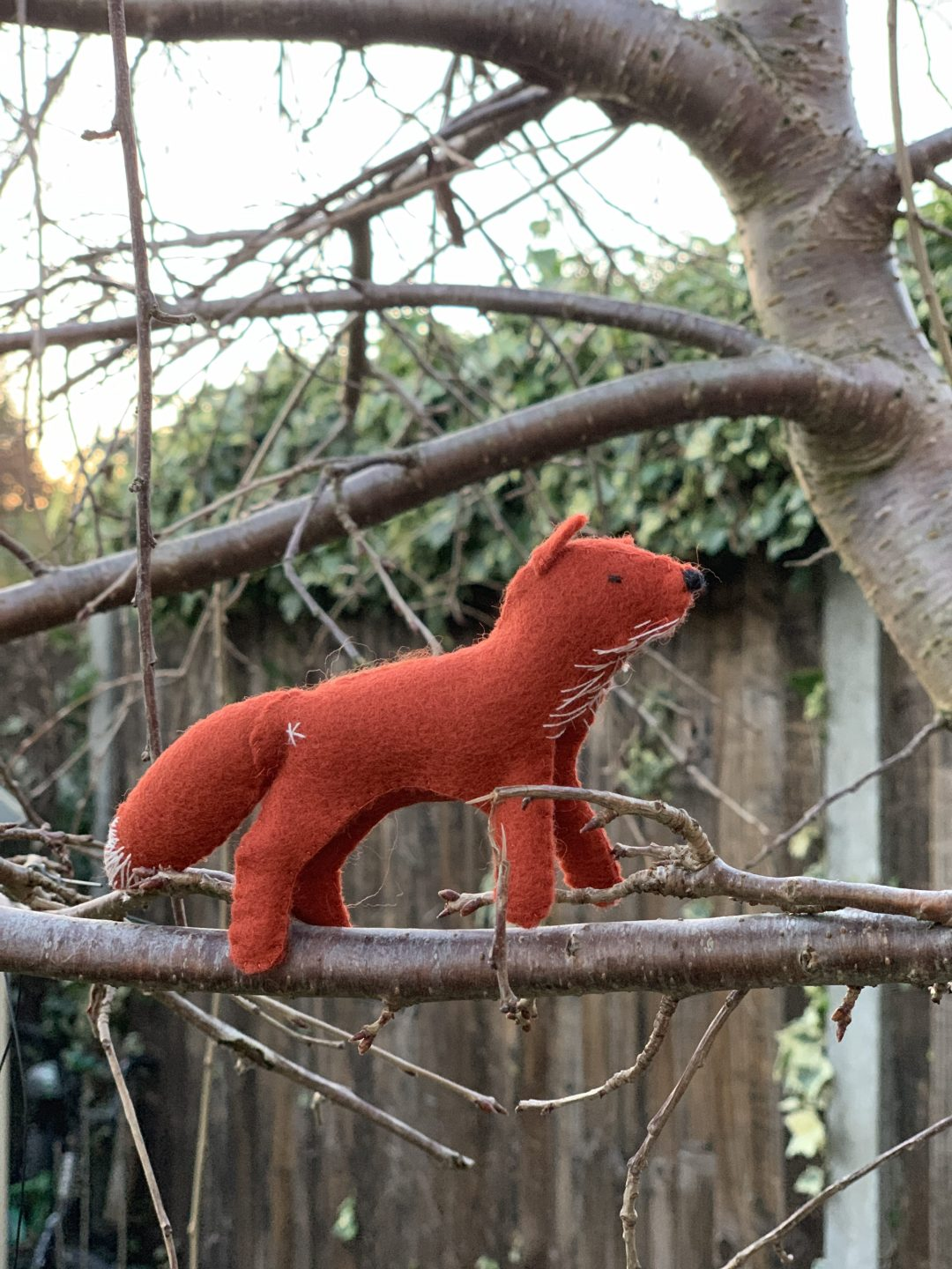 wool felt fox from the Winter Craftpod box