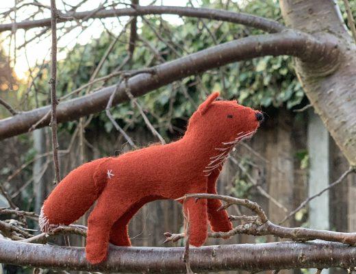 wool felt fox from the Winter Craftpod box