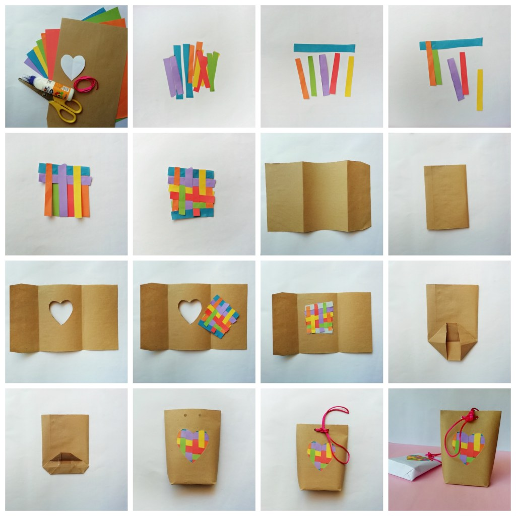 DIY Valentine's Day gift bag with paper weave detail - the gingerbread house blog