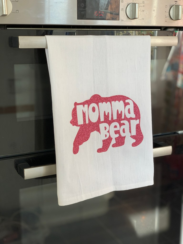 Mother's Day teatowel made with the Cricut Maker
