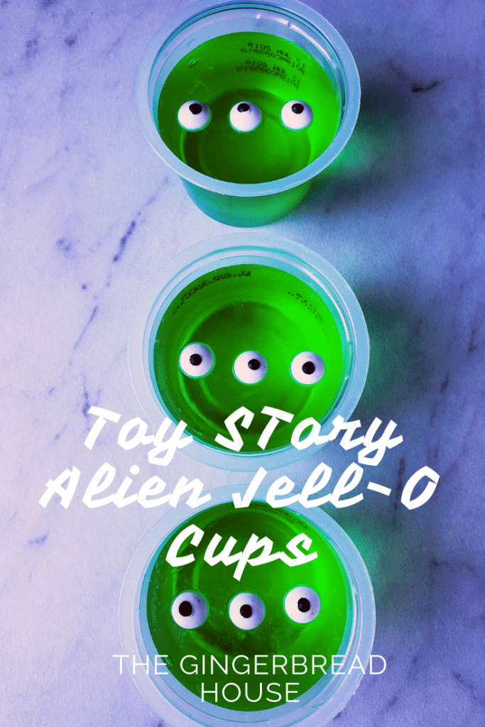 Toy Story Alien Jell-O Cups from the gingerbread house