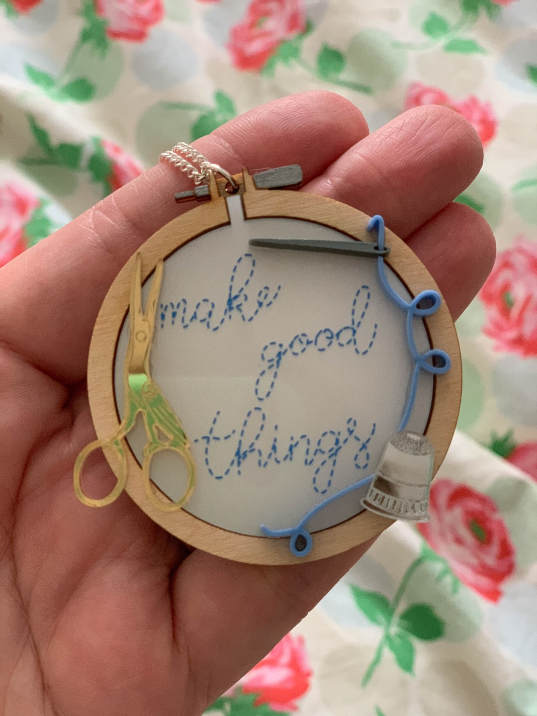 embroidery hoop necklace