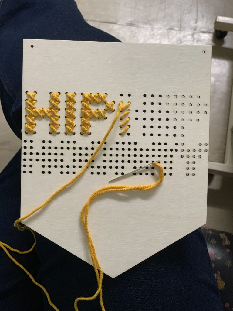 Hip Hip Hooray wooden banner embroidery kit
