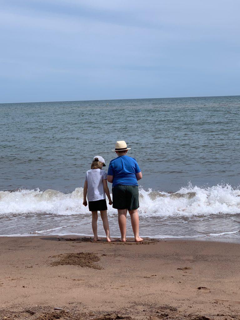 my kids on the beach