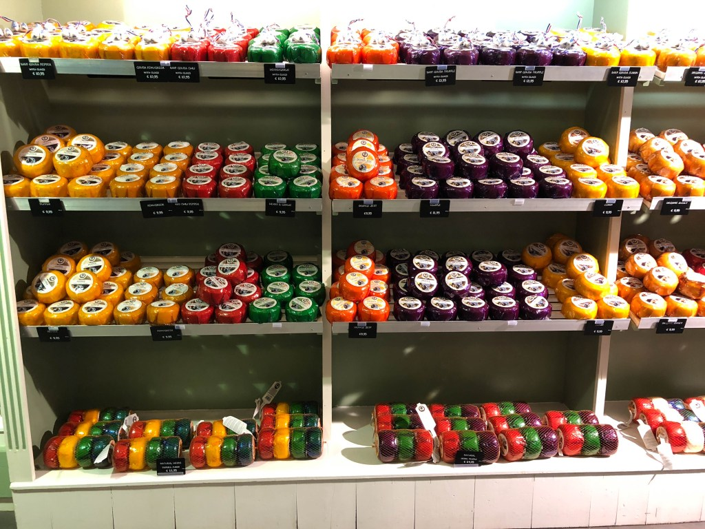 shelves full of wrapped cheese in Amsterdam