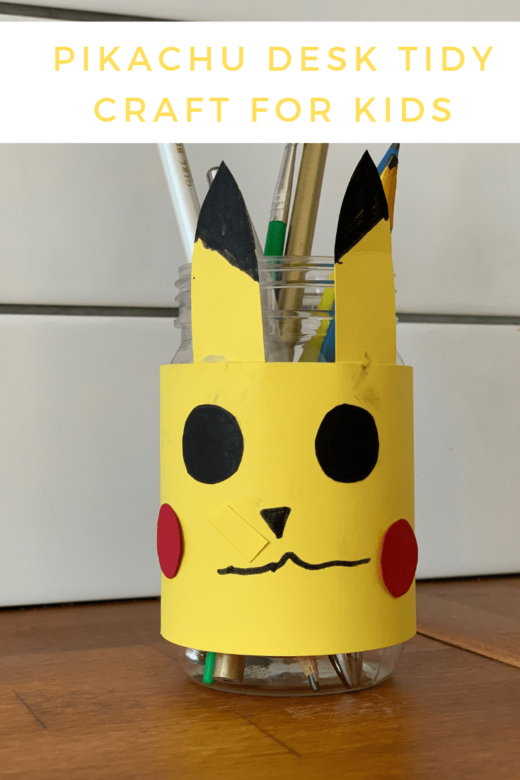 Pikachu desk tidy craft for kids