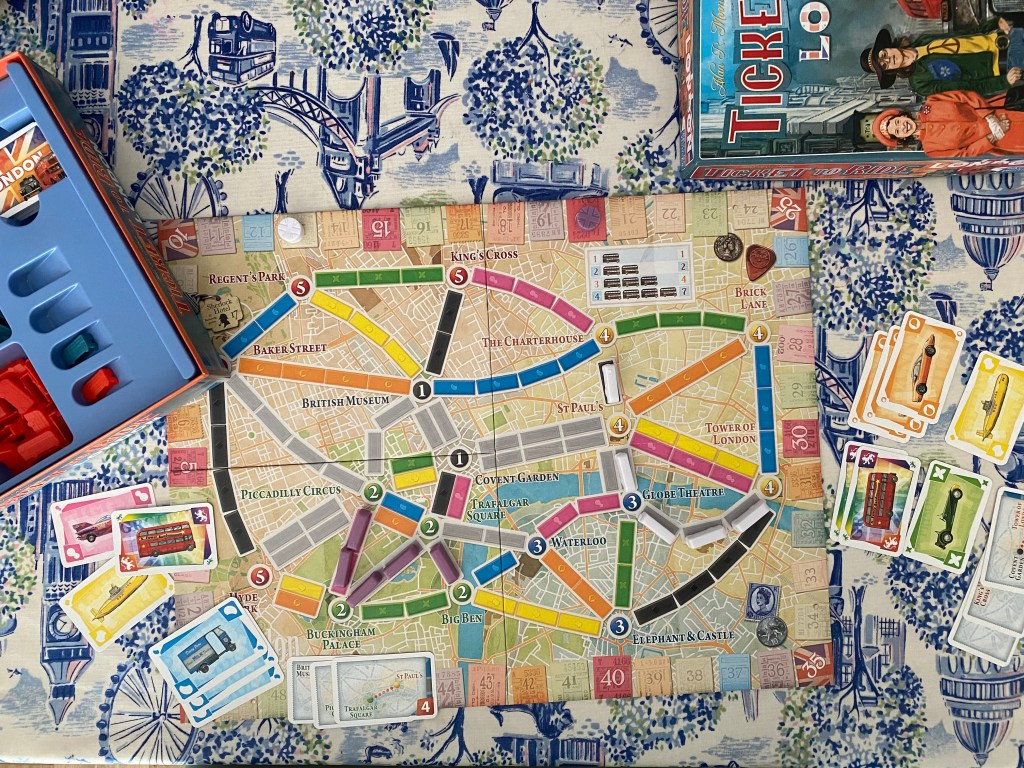 playing the board game Ticket To Ride