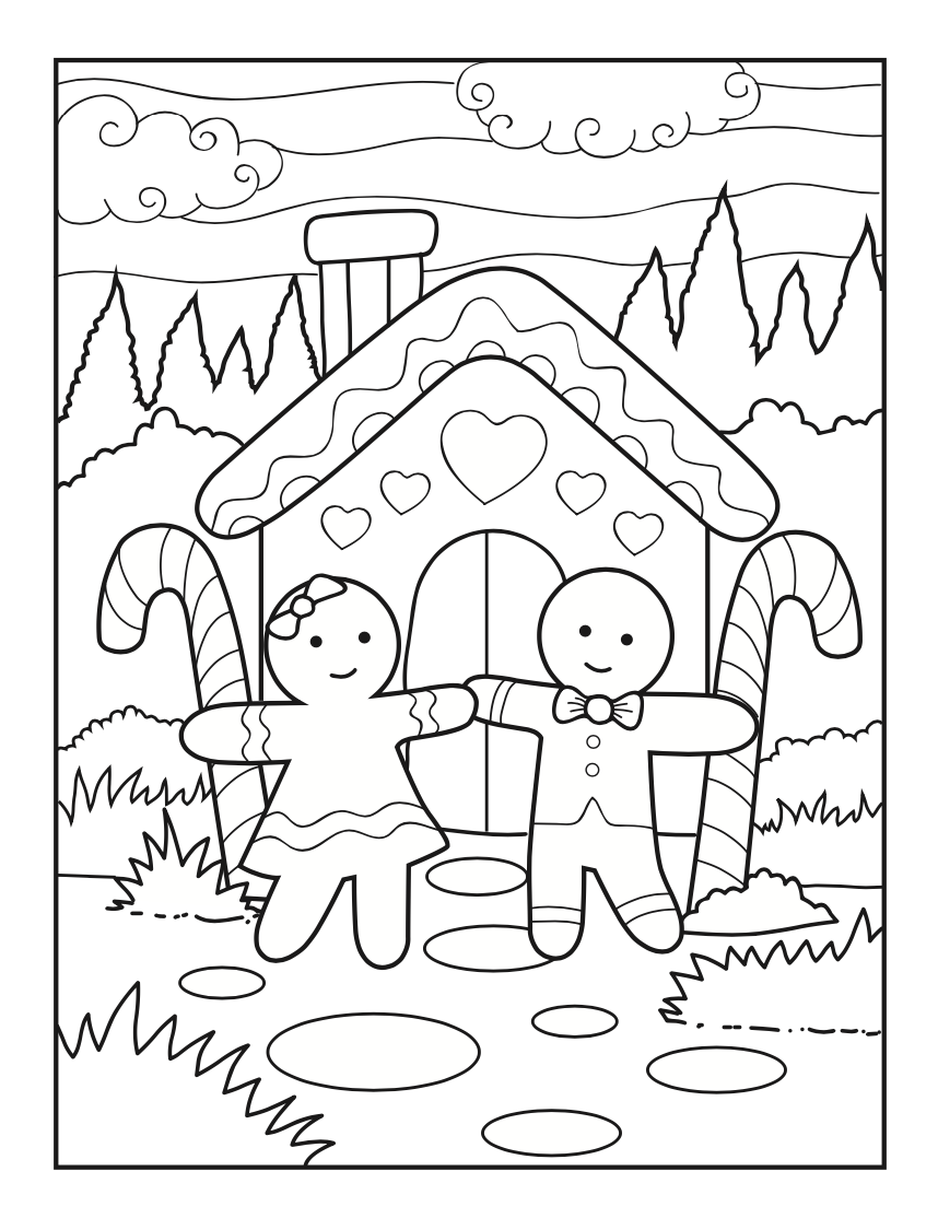 Free Christmas gingerbread house colouring page - the ...