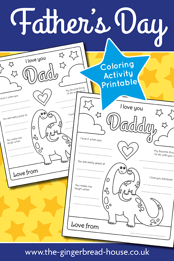 Free Father's Day colouring sheet and printable from the gingerbread house