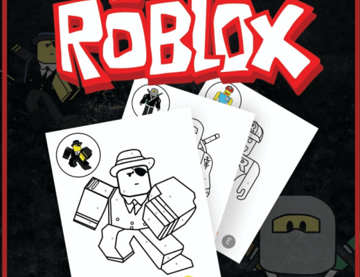 free printable Roblox colouring sheets for kids from the gingerbread house