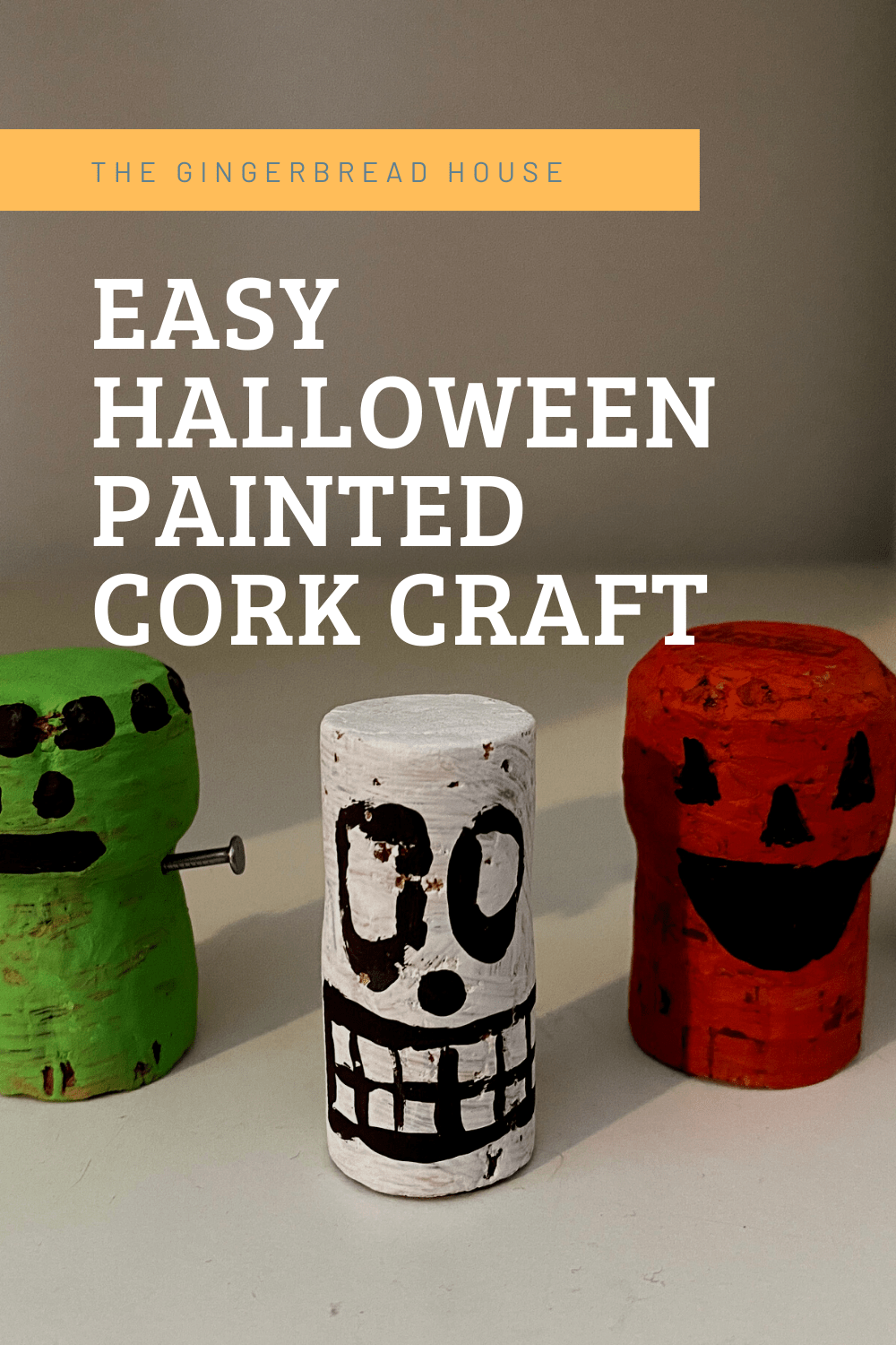 Easy Halloween painted cork craft