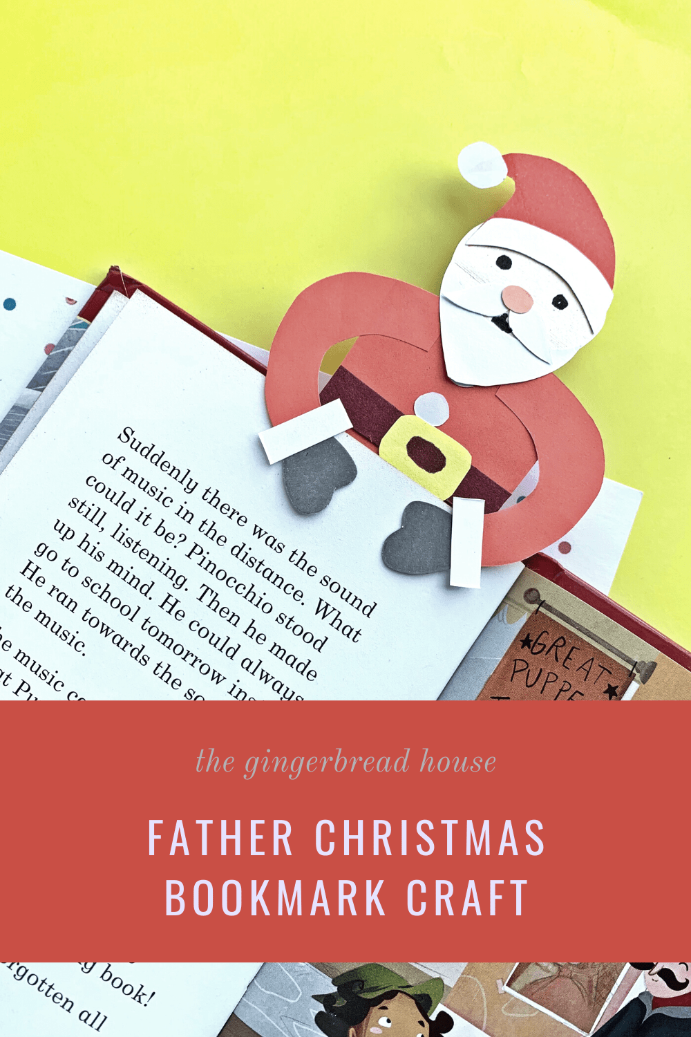 Father Christmas bookmark craft for kids