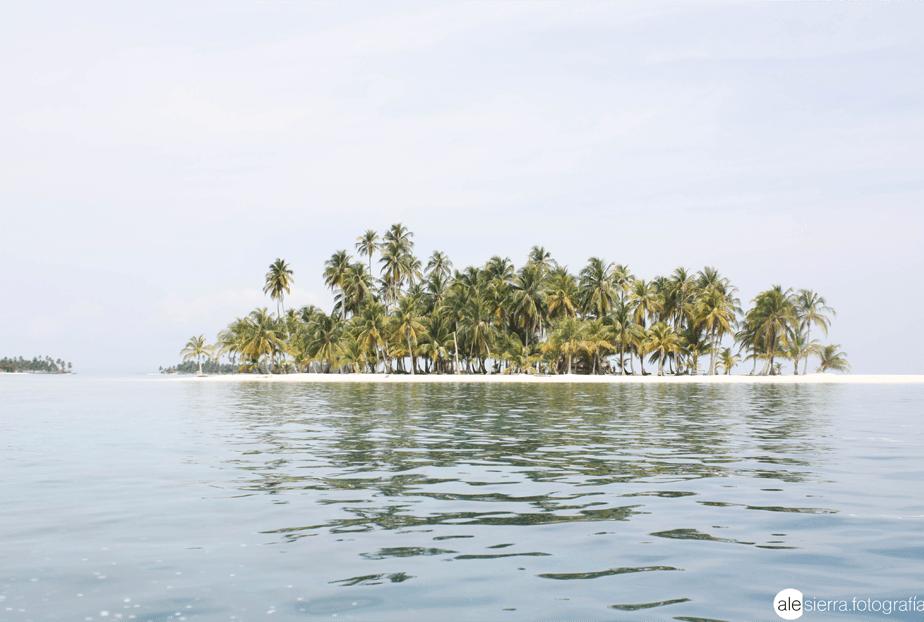 verlaten eiland met palmbomen gezien vanaf het zeewater