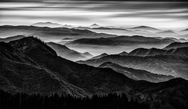zwart en wit landschap van bosbergen die door mist worden behandeld