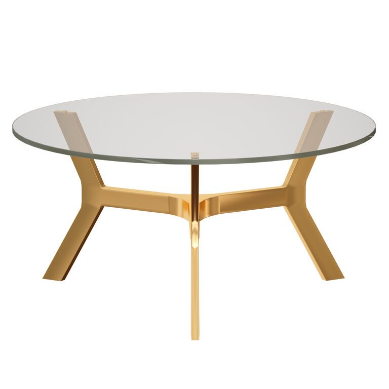 elke round glass coffee table with brass base crate and barrel 3d model download 3d model elke round glass coffee table with brass base crate and