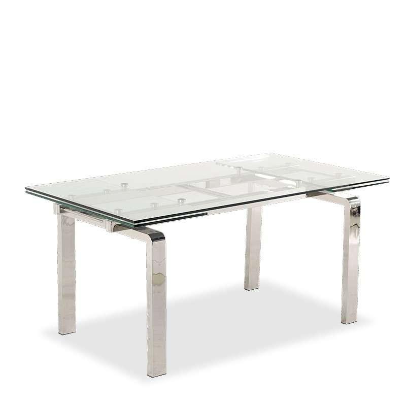 table design en verre extensible avec pieds chromes tanina