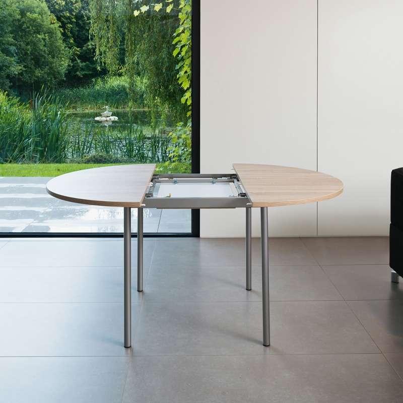 table de cuisine ronde en stratifie avec rallonge basic