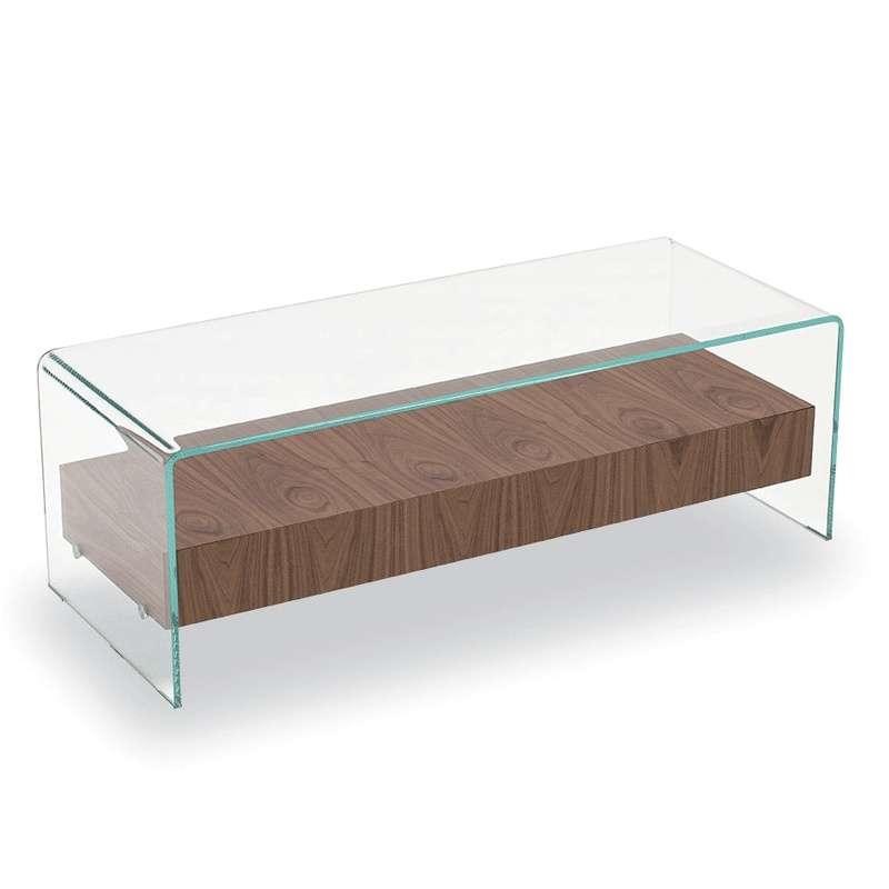 table basse en verre avec tiroir en bois bridge sovet
