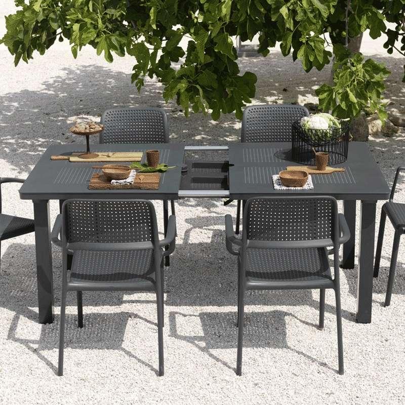 table de jardin avec allonge en polypropylene et aluminium levante