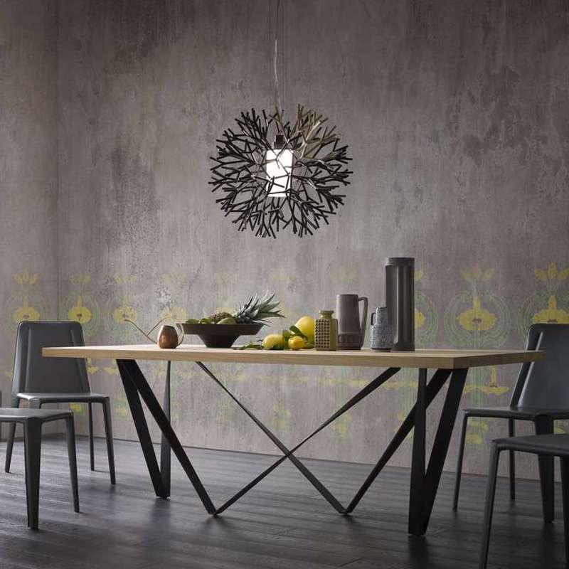 table design rectangulaire avec pied en metal wave