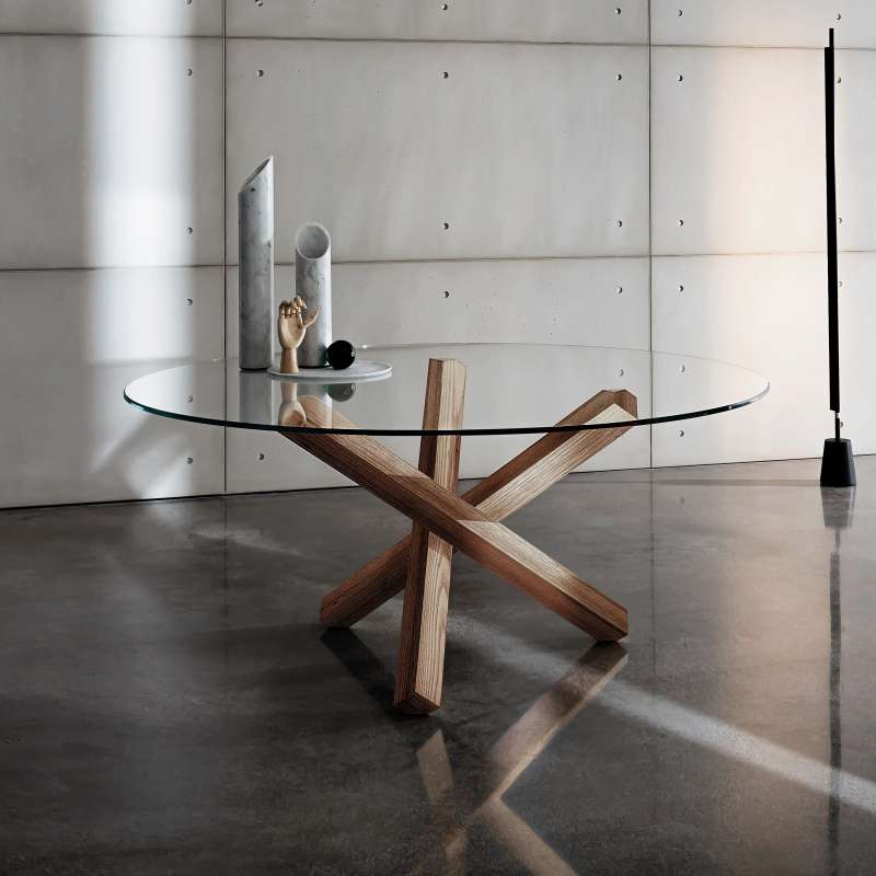 table en verre design ronde aikido sovet