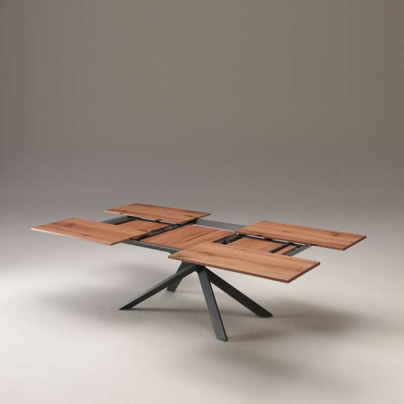 table design extensible rectangulaire en bois et metal 4x4