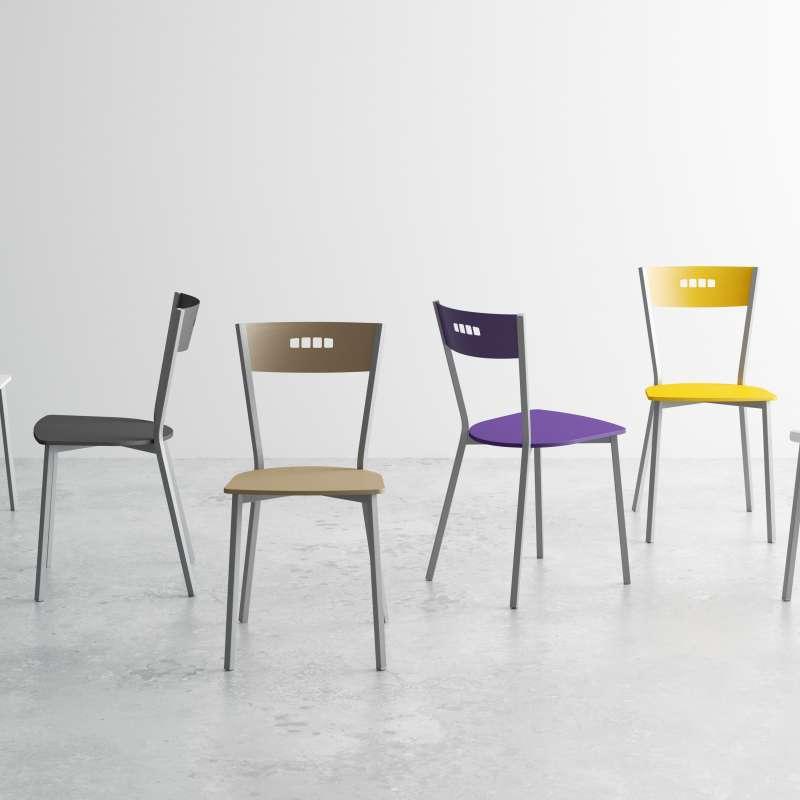 chaise de cuisine moderne en bois et metal versus