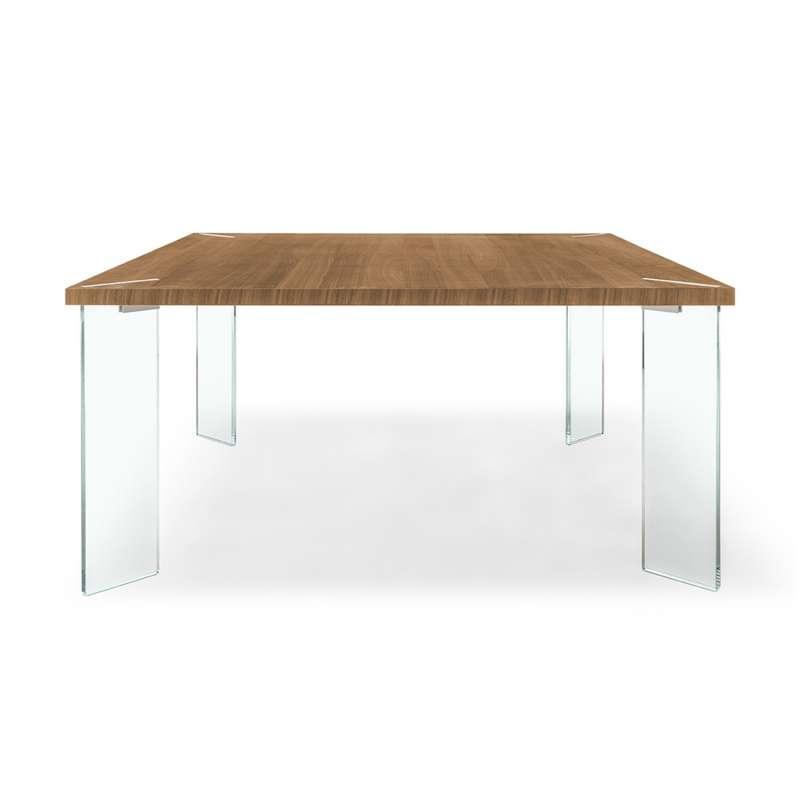table carree design en melamine et verre concrete