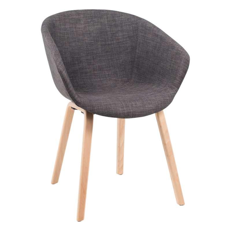 fauteuil scandinave en tissu gris et bois naturel loona