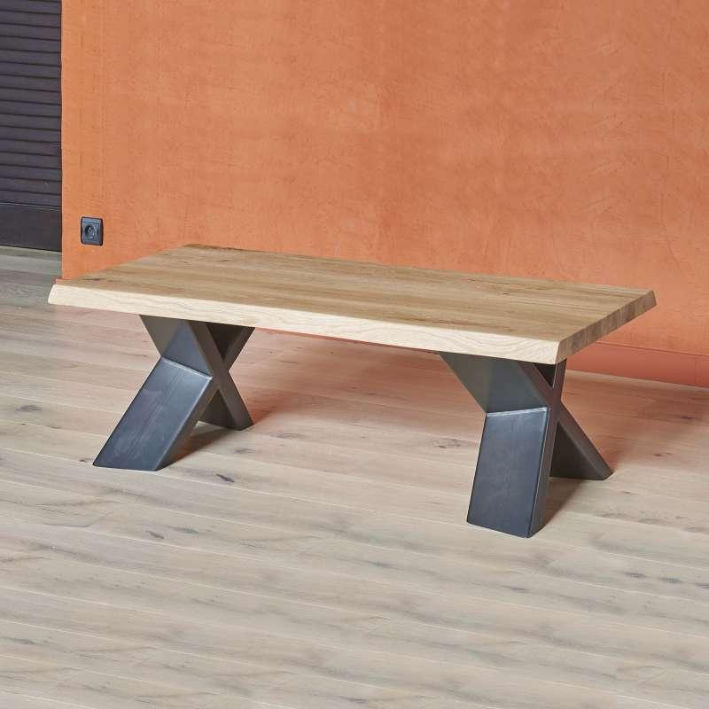 table basse moderne en chene massif et metal pieds en x forest