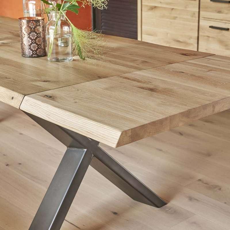 table extensible rectangulaire en chene massif et metal pieds en x carte
