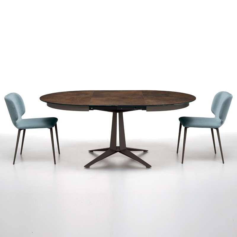 table design ronde extensible en ceramique pied central en metal link midj