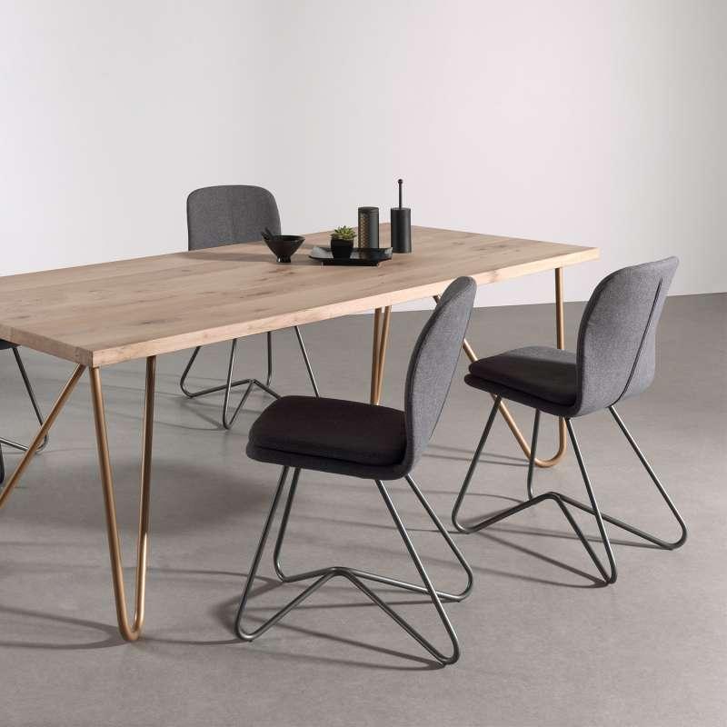 chaise design de salle a manger avec coque en tissu rembourree et metal harmon