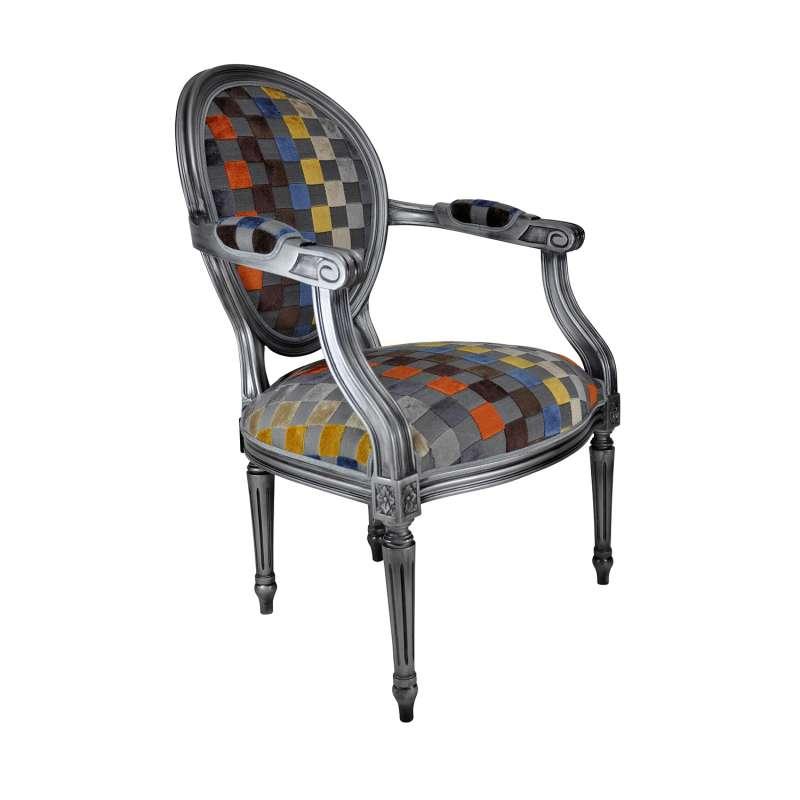 fauteuil louis xvi medaillon revisite fabrication francaise adrien