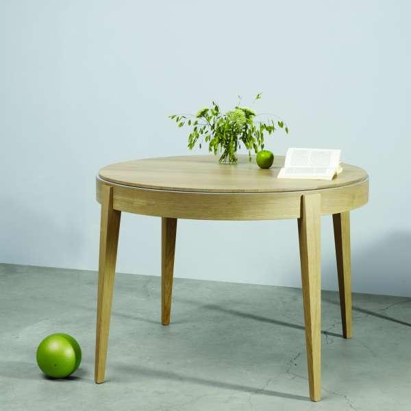table ronde en bois massif de fabrication francaise avec allonges lisere 355