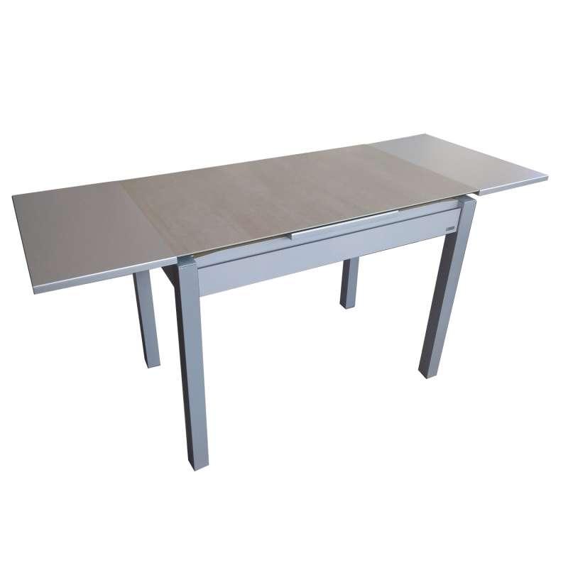 petite table de cuisine extensible en ceramique avec tiroir pieds alu iris
