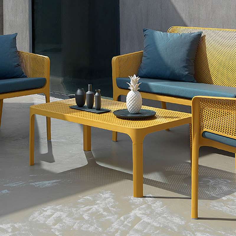 table basse moderne avec plateau micro perfore 100 x 60 cm net