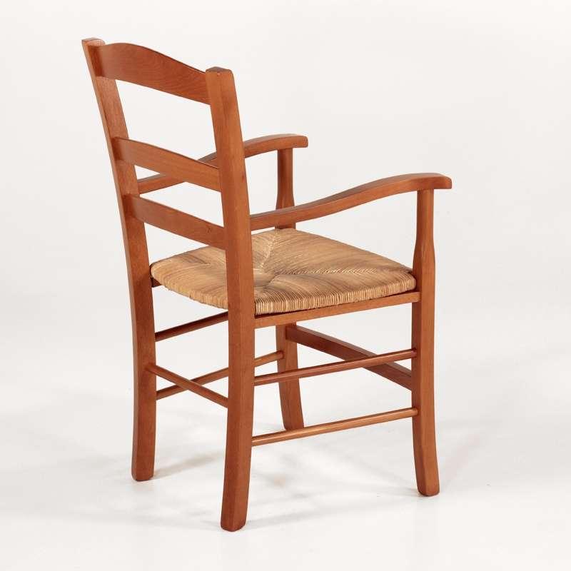 fauteuil en bois rustique et paille broceliande