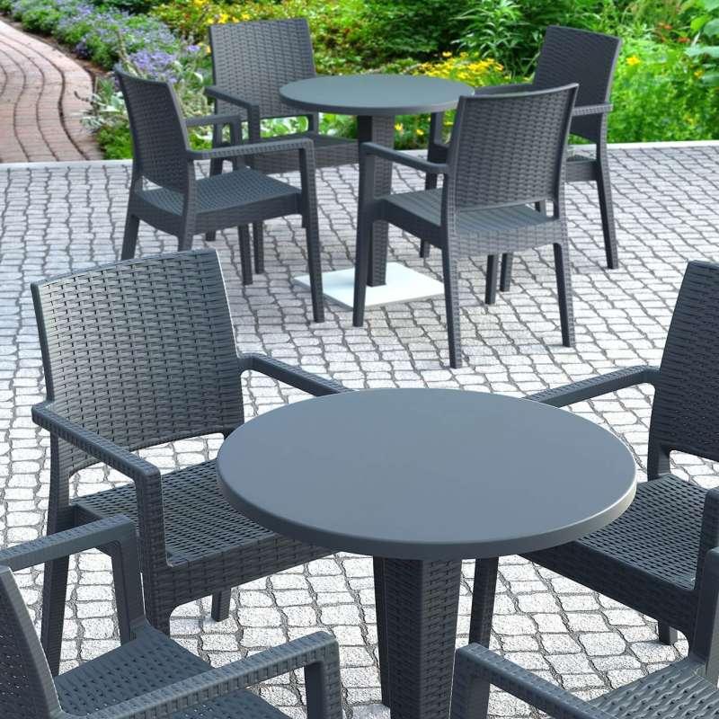 table de jardin ronde en resine tressee et plateau werzalit riva