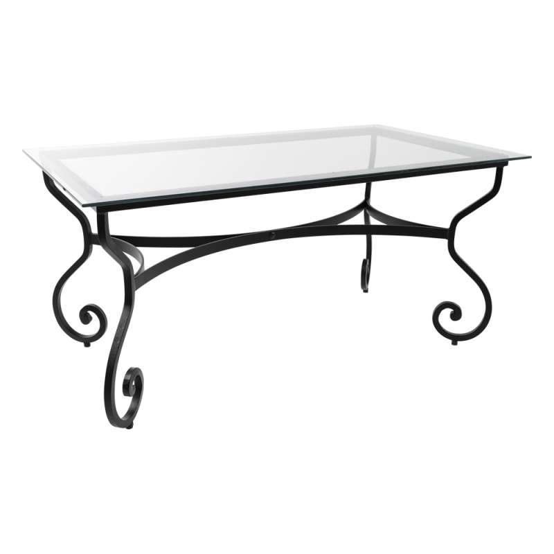 table de jardin provencale plateau verre avec pieds en acier damasco
