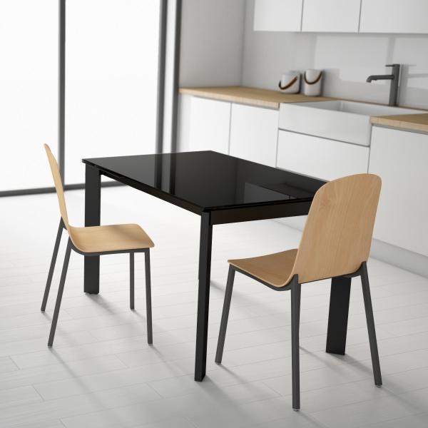 table petit espace extensible en verre poker
