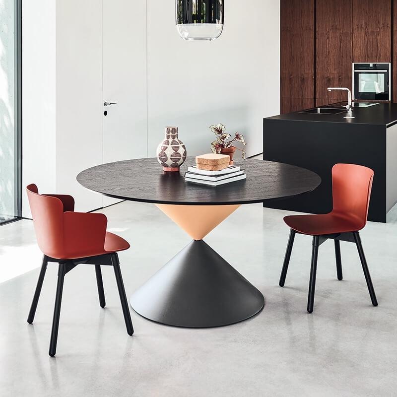 table de salle a manger ronde design en bois clessidra midj
