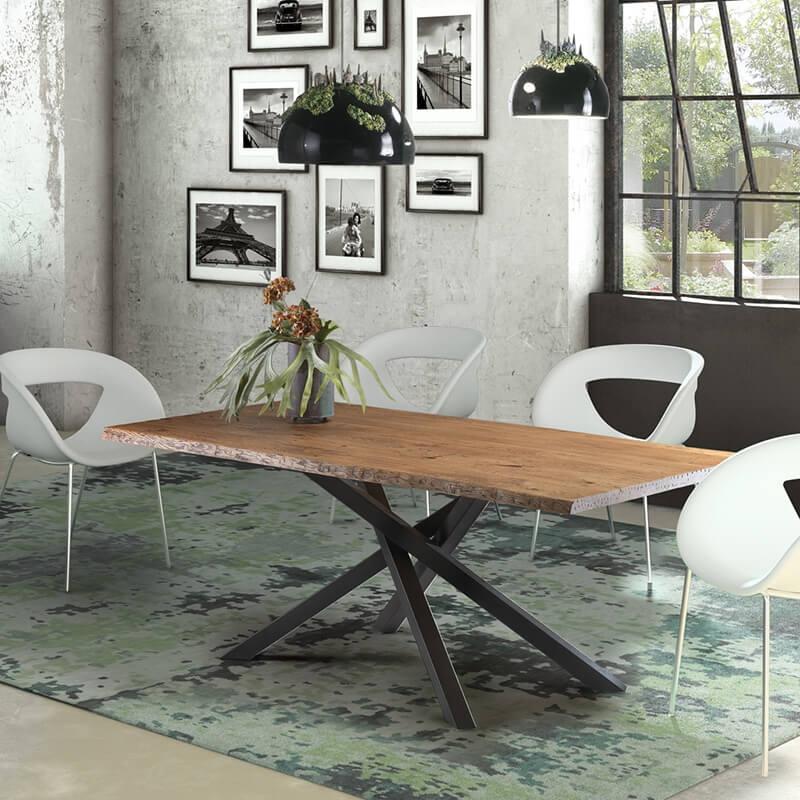 table de salle a manger industrielle pied central mikado 14 03